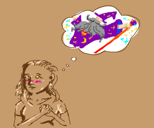 Girl thinking about wizard