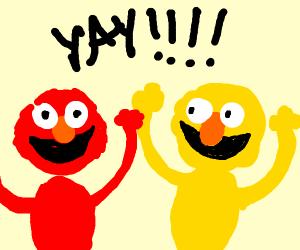 Elmo meets yellow elmo
