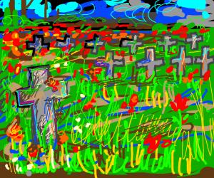 Field grave for a fallen soldier