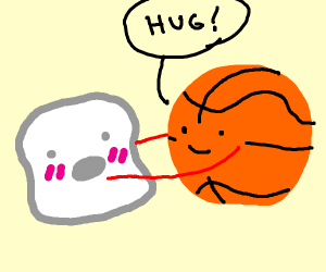 Marshmallow embarrassed by Basketball hugs