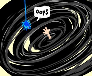 Blue spider fails to rescue man inside vortex