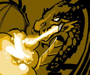 Dark Dragon Breathing Fire