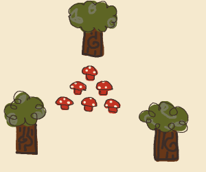 6 mushrooms surrounded by 3 trees