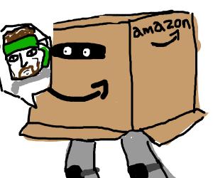 Snake (<-Name) in his amazon cardboard box.