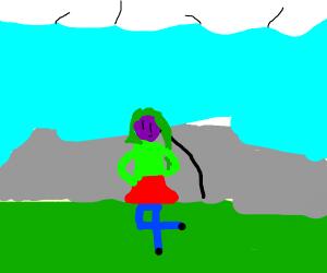 cute purple girl with green hair