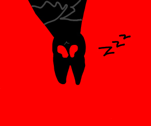bat with red eyes sleeping