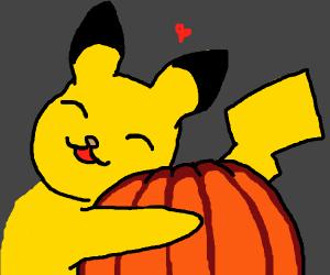 Pikachu loves pumpkin!!!