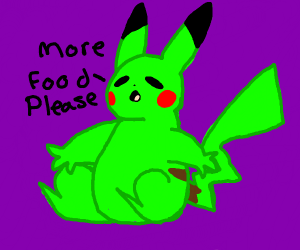Green obese pikachu