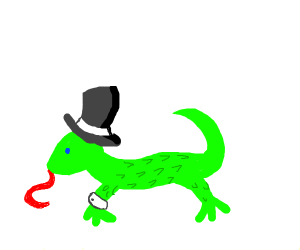 Snazzy lizard in a top hat