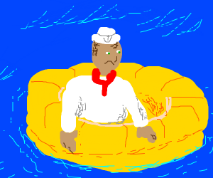 Sailor in a lifeboat