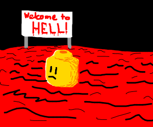 Decapitated Lego head in hell