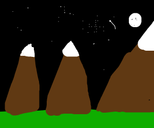 Night sky over mountains