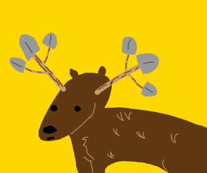 A moose but the antlers are shovels