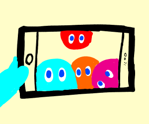 Pacman ghosts taking silly selfie