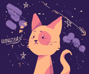 A pink cat enjoying the night sky