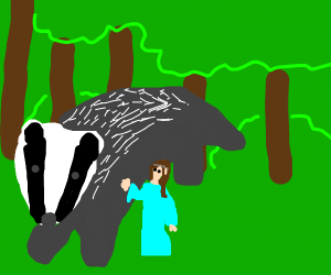 Brown-Haired Elf with Giant Badger