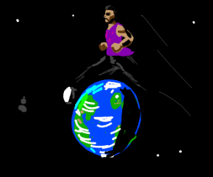 A guy jumping over the world