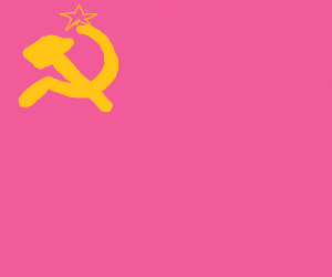 A pink Soviet Union flag