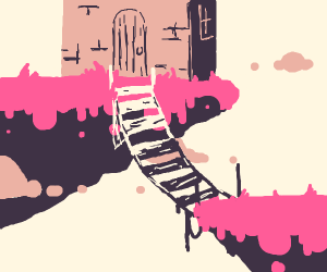 Floating pink islands with a bridge n castle