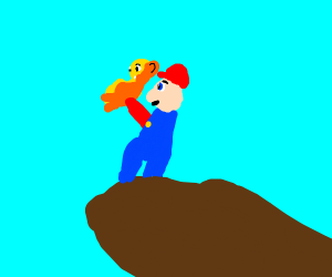 Simba being held up by Mario on hill
