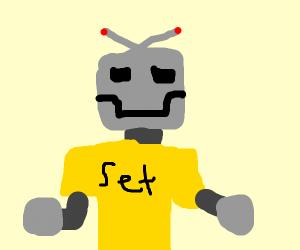 robot wearing yellow t-shirt that says set