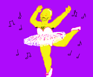 Yellow ballerina with a moustache