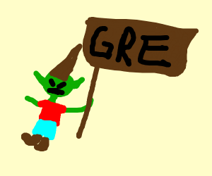 """angry elf holding a sign that says """"gre"""""""