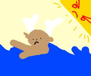Evil sun watches a reindeer drown