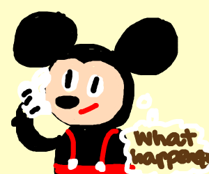 Mickey Mouse wondering what happened