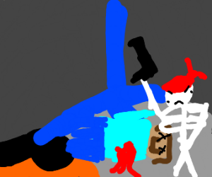 Steve(Minecraft) shot by a skeleton
