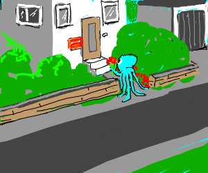 Squidward walks down the street to your house