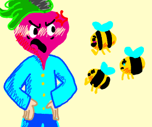 Mr. Radish Head doesn't like bees