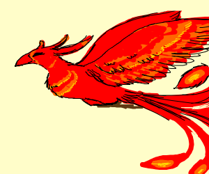 a happy phoenix, gliding through the air