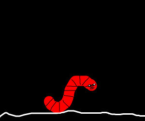 cool worm walking down a path