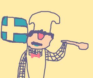 Swedish chef holding spatula