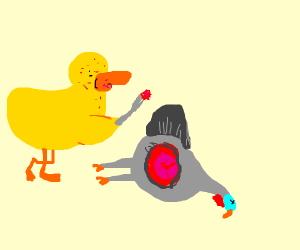 A duck eating turkey
