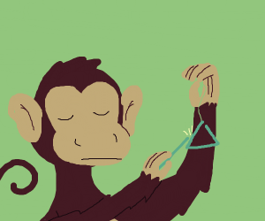 Monkey playing a triangle