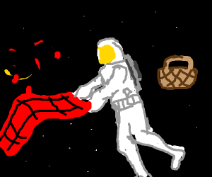 Dude in space goes camping