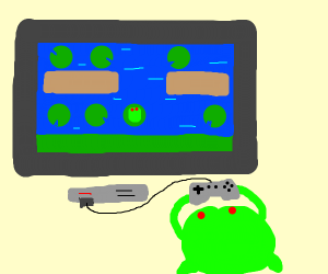 Frog playing frogger