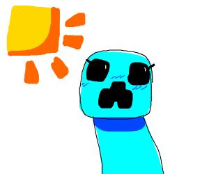 Blue Minecraft Creeper