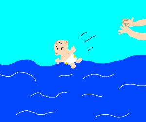 Baby thrown into the ocean