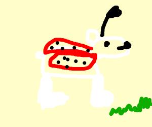 a polarbear in a ladybug costume