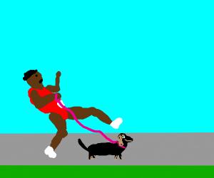 Qwop takes his dachshund for a walk.