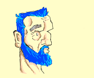 old man dyes his hair and beard blue