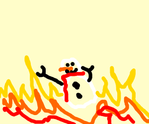A snowman in the fire place