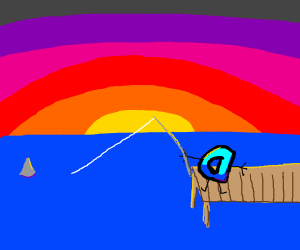 Drawseption D fishing for shark in the sunset