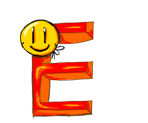 "big letter ""E"" with a smiley face"