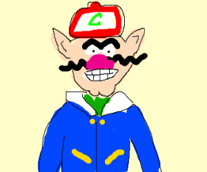 wario but he's dressed as ash ketchum