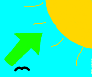 Big green arrow pointing at the sun