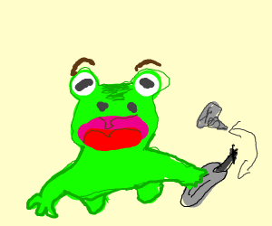 a frog holding a screwdriver